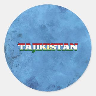 Tajik name and flag on cool wall classic round sticker