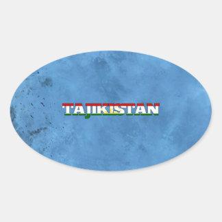 Tajik name and flag on cool wall oval sticker