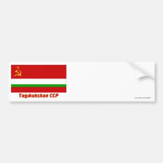 Tajik SSR Flag with Name Car Bumper Sticker