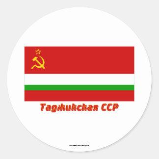 Tajik SSR Flag with Name Classic Round Sticker
