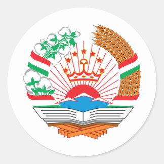 Tajikistan coat of arms classic round sticker