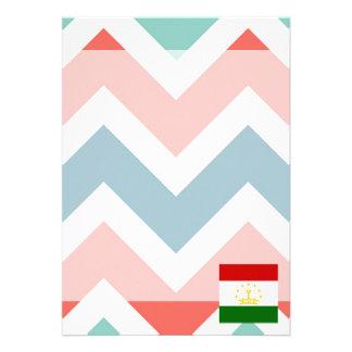 "Tajikistan Flag Box on Colorful Chevron 5"" X 7"" Invitation Card"