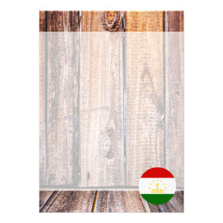 "Tajikistan flag circle on wood background 5"" x 7"" invitation card"