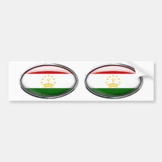 Tajikistan Flag Glass Oval Bumper Sticker