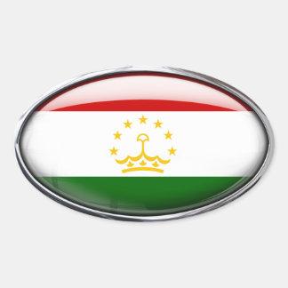 Tajikistan Flag Glass Oval Oval Sticker