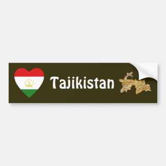 Tajikistan Flag Heart + Map Bumper Sticker Car Bumper Sticker