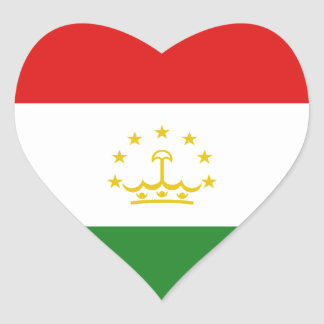 Tajikistan Flag Heart Sticker