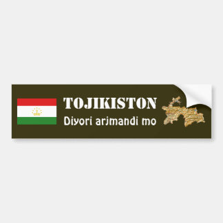 Tajikistan Flag + Map Bumper Sticker Car Bumper Sticker