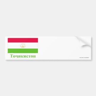 Tajikistan Flag with Name in Tajik Car Bumper Sticker