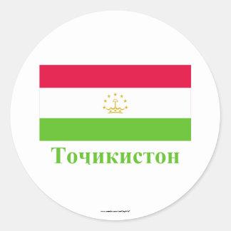 Tajikistan Flag with Name in Tajik Classic Round Sticker
