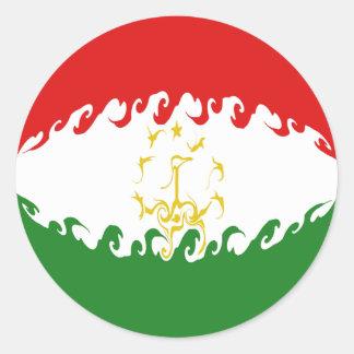 Tajikistan Gnarly Flag Classic Round Sticker
