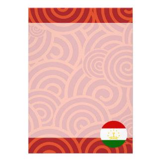 "Tajikistan round flag 5"" x 7"" invitation card"