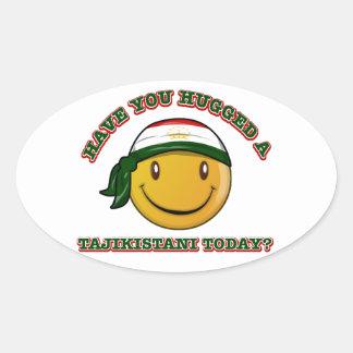 Tajikistan smiley flag designs oval sticker