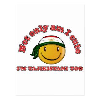 Tajikistan smiley flag designs postcard
