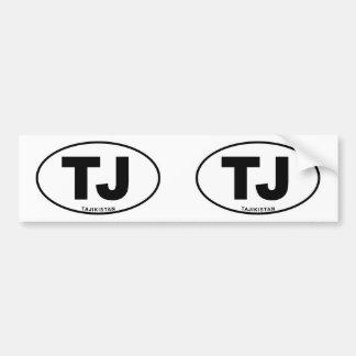 Tajikistan TJ Oval ID Identification Code Initials Bumper Sticker