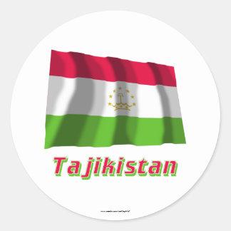 Tajikistan Waving Flag with Name Classic Round Sticker
