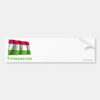Tajikistan Waving Flag with Name in Tajik Bumper Sticker