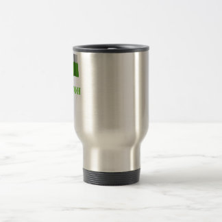 Tajikistan Waving Flag with Name in Tajik Travel Mug