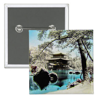TAKAGI Glass Magic Lantern Slide KINKAKUJI GARDENS Button