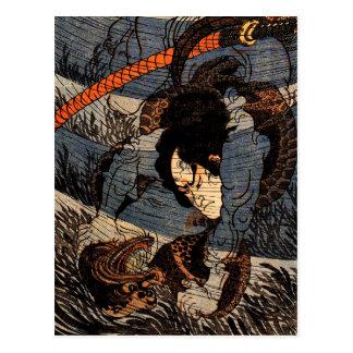 Takagi Toranosuke capturing a kappa underwater Postcards
