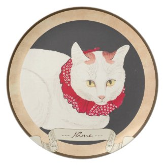 takahashi shotei tama nekko cat portrait ukiyo-e plate