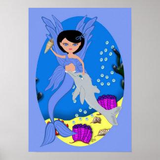 Takara el poster azul de Merfaery y del delfín