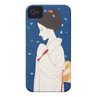 Takasawa Keiichi Large Snowflake japanese lady iPhone 4 Case-Mate Cases
