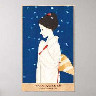Takasawa Keiichi Large Snowflake japanese lady Print