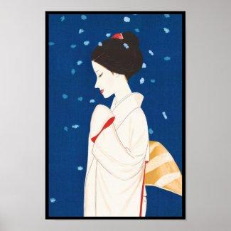 Takasawa Keiichi Large Snowflake japanese lady Posters