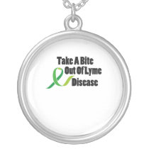 Take A Bite Out Of Lyme Disease Awareness Silver Plated Necklace