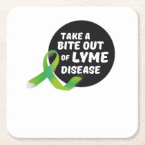Take A Bite Out Of Lyme Disease Awareness Square Paper Coaster