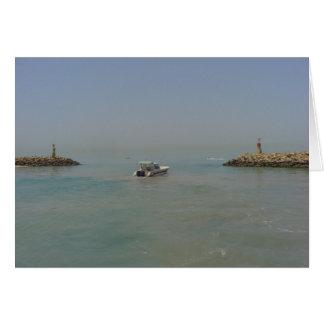Take a break - boat leaving the harbor card