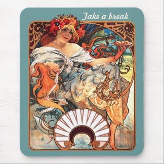 Take a break  CC0413 Alphonse Mucha Mouse Pad