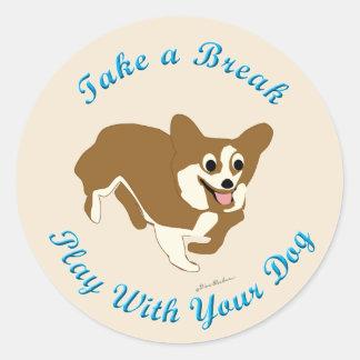 Take A Break (Pembroke Welsh Corgi) Classic Round Sticker