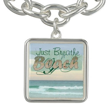 Beach Themed Take a Breather at the Beach Charm Bracelet