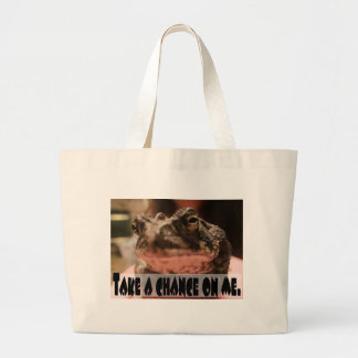 Take A Chance On Me Frog Card Large Tote Bag
