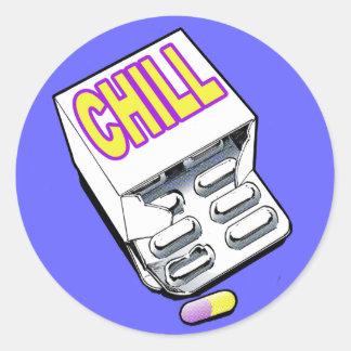 Take a chill pill classic round sticker