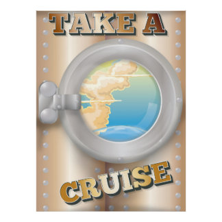 Take a Cruise cartoon travel poster