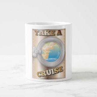Take a Cruise cartoon travel poster Large Coffee Mug