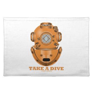 Take A Dive (Deep Diving Helmet Oceanographer) Cloth Place Mat