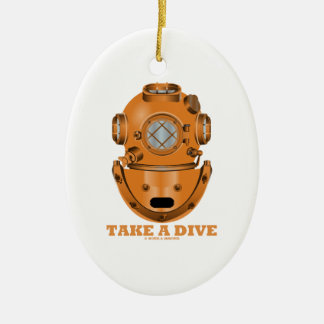 Take A Dive (Deep Diving Helmet Oceanographer) Double-Sided Oval Ceramic Christmas Ornament
