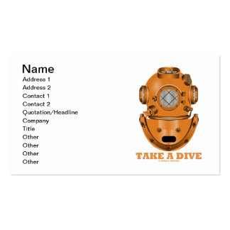 Take A Dive (Deep Diving Helmet Oceanographer) Double-Sided Standard Business Cards (Pack Of 100)