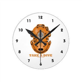 Take A Dive (Deep Diving Helmet Oceanographer) Round Wall Clocks