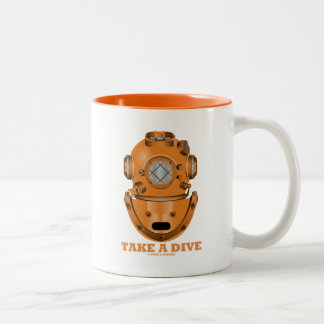 Take A Dive (Deep Diving Helmet Oceanographer) Two-Tone Coffee Mug
