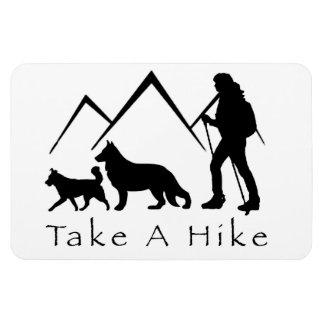 Take a Hike Magnet-German Shepherd/Husky Rectangular Photo Magnet