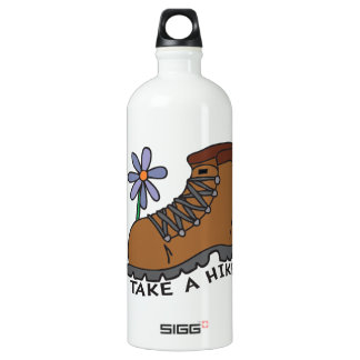 Take A Hike (with flower) Aluminum Water Bottle