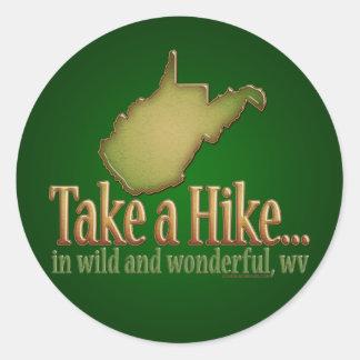 Take a Hike WVState Round Stickers