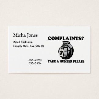 Take A Number Hand Grenade Business Card