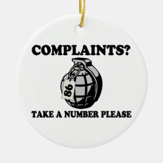 Take A Number Hand Grenade Ceramic Ornament