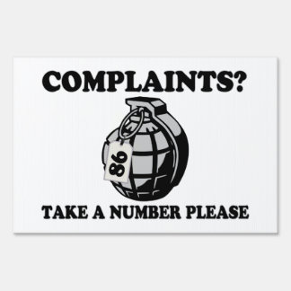 Take A Number Hand Grenade Lawn Sign